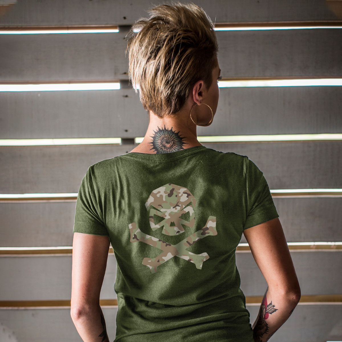 Multicam Logo Tee - V-Neck - Green/Green_Multicam - T-Shirts - Pipe Hitters Union