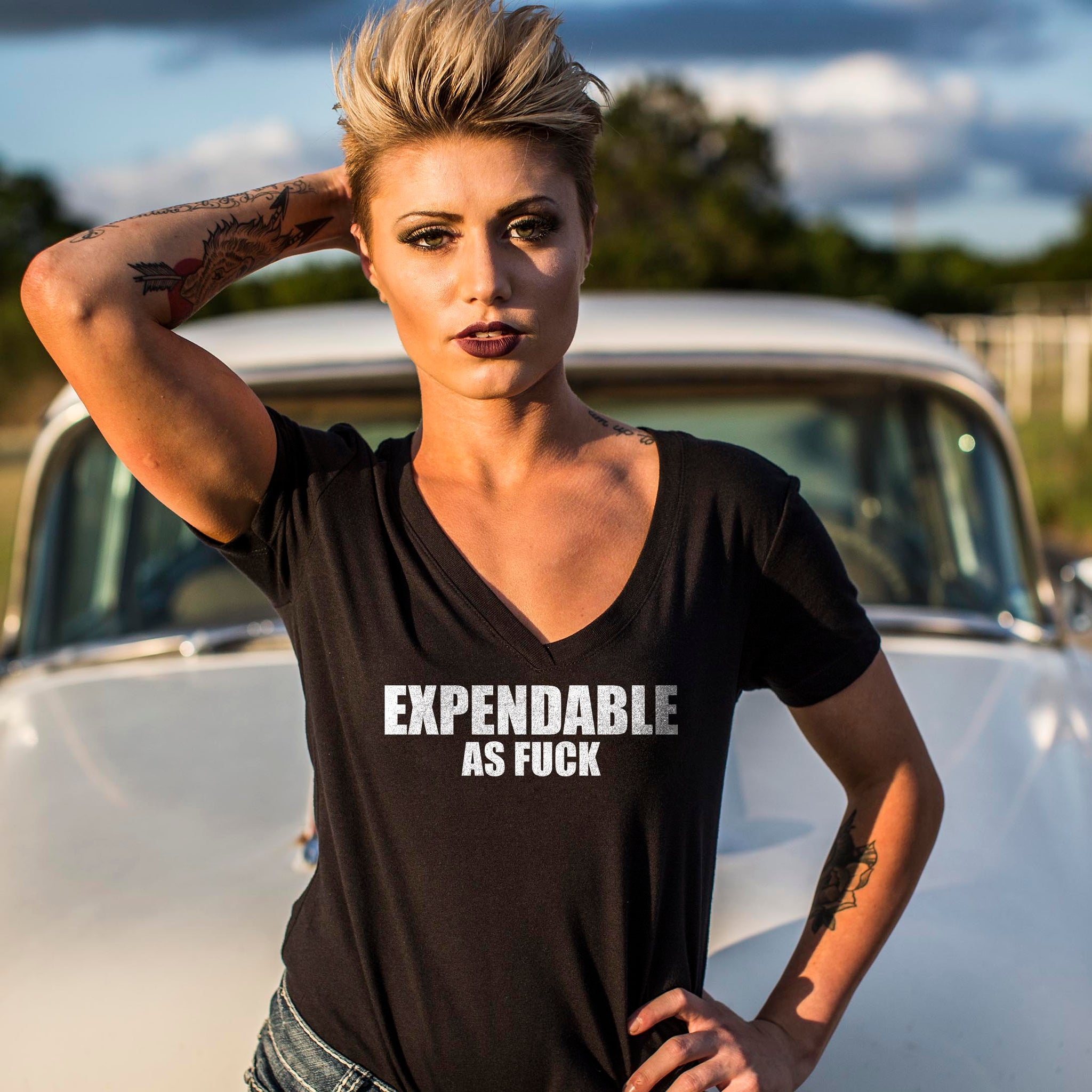 Expendable As Fuck - V-Neck - Black - T-Shirts - Pipe Hitters Union