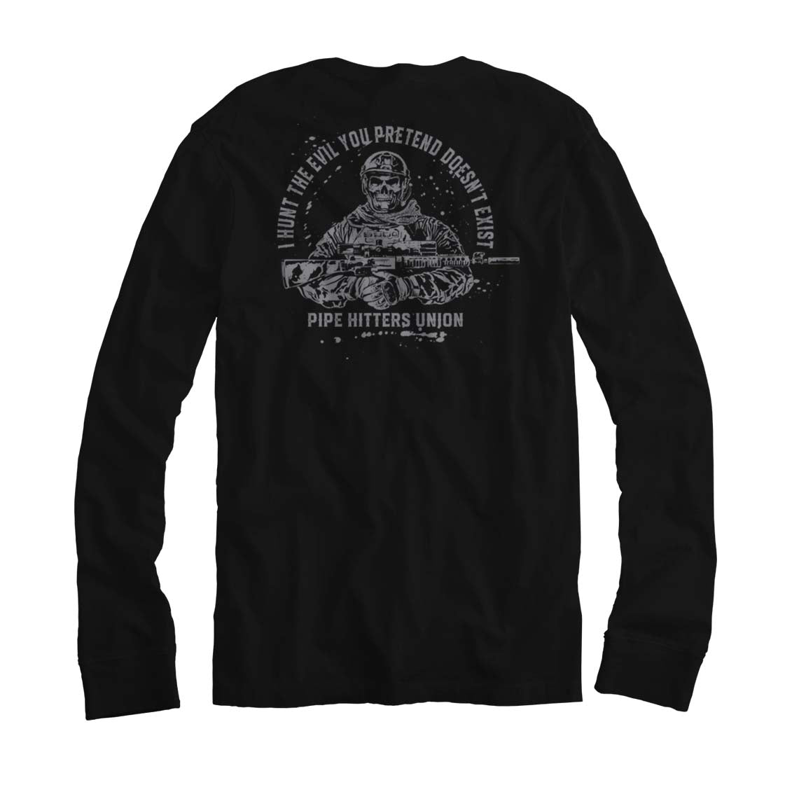 Hunt Evil - Long Sleeve - Black/Grey - T-Shirts - Pipe Hitters Union
