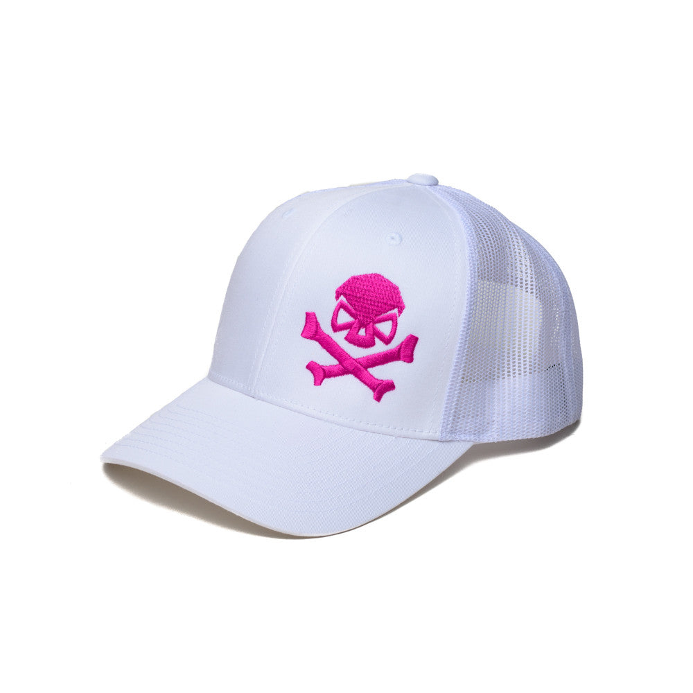 Skull & Bones Trucker - White/Pink - Hats - Pipe Hitters Union