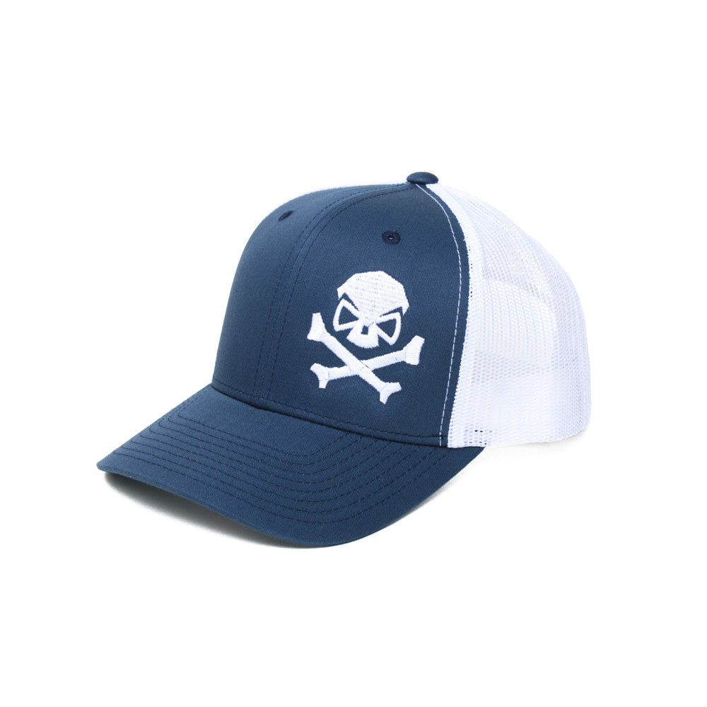 Skull & Bones Trucker - Blue/White - Hats - Pipe Hitters Union
