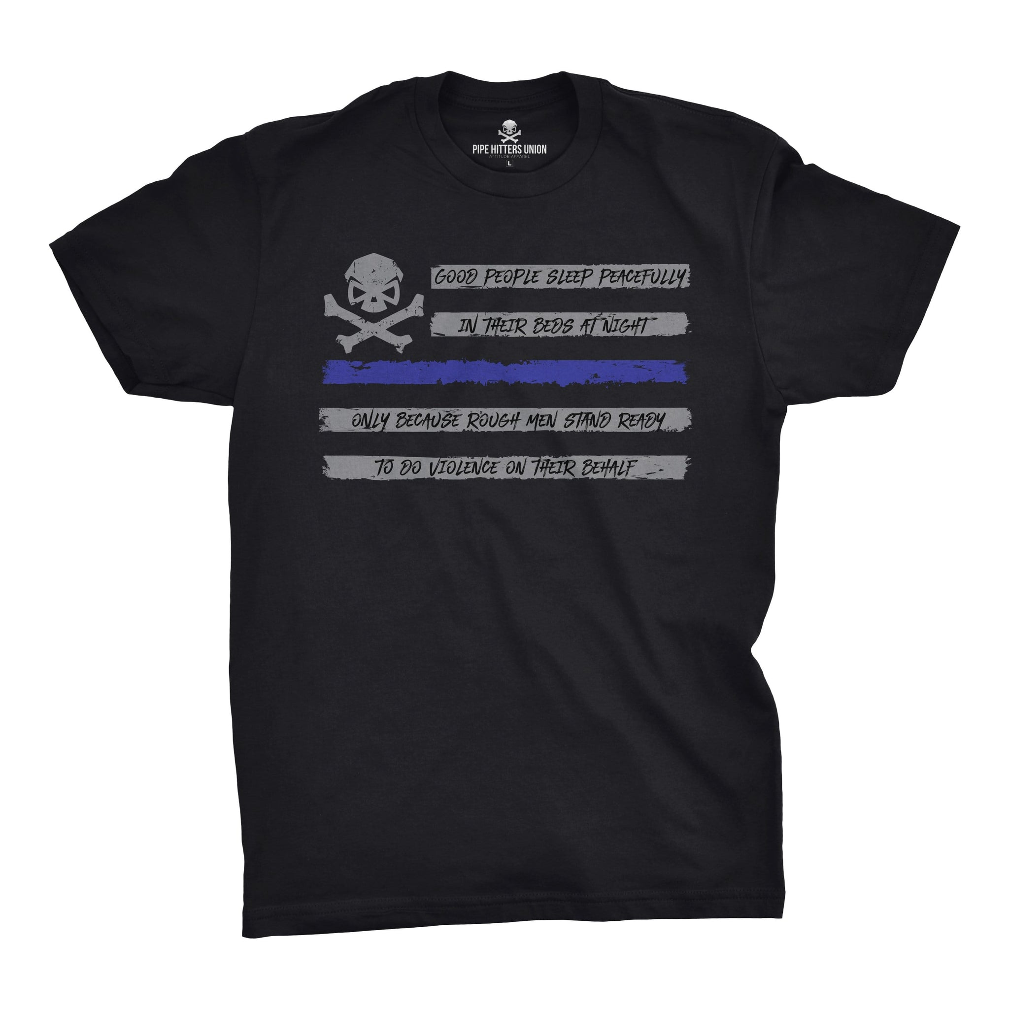 People Sleep - Flag (Blue Line) - Medium - T-Shirts - Pipe Hitters Union