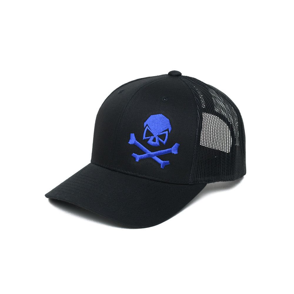 Skull & Bones Trucker - Black/Blue - Hats - Pipe Hitters Union