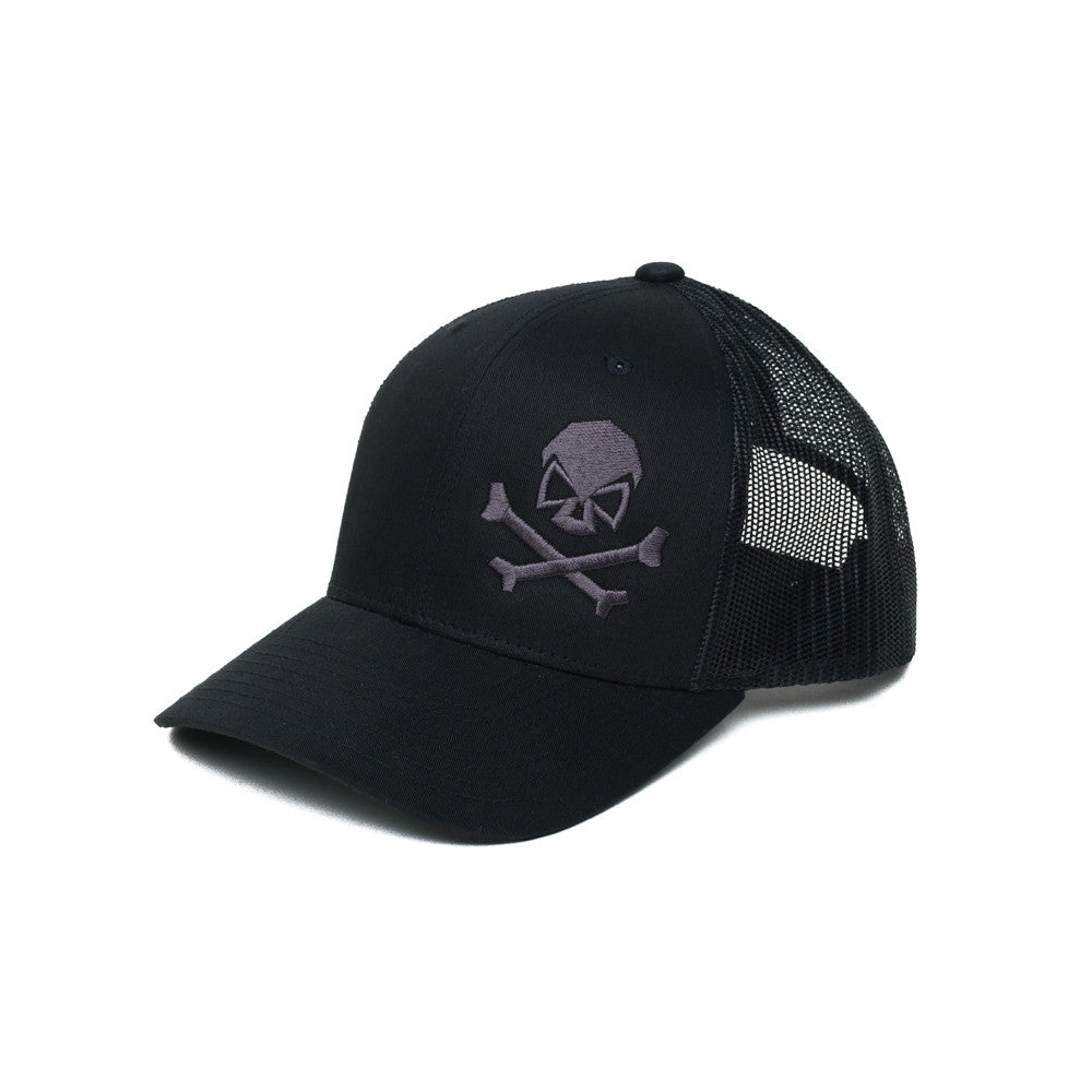 Skull & Bones Trucker - Black/Gray - Hats - Pipe Hitters Union