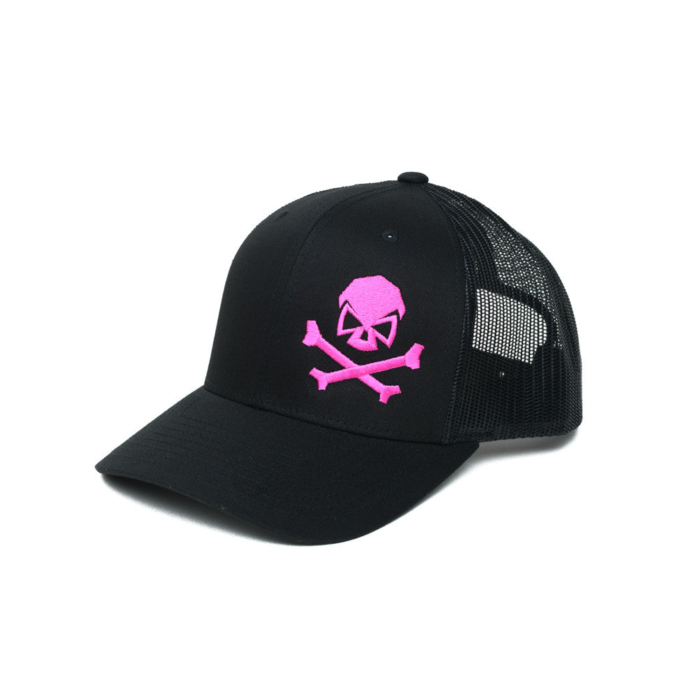 Skull & Bones Trucker - Black/Pink - Hats - Pipe Hitters Union