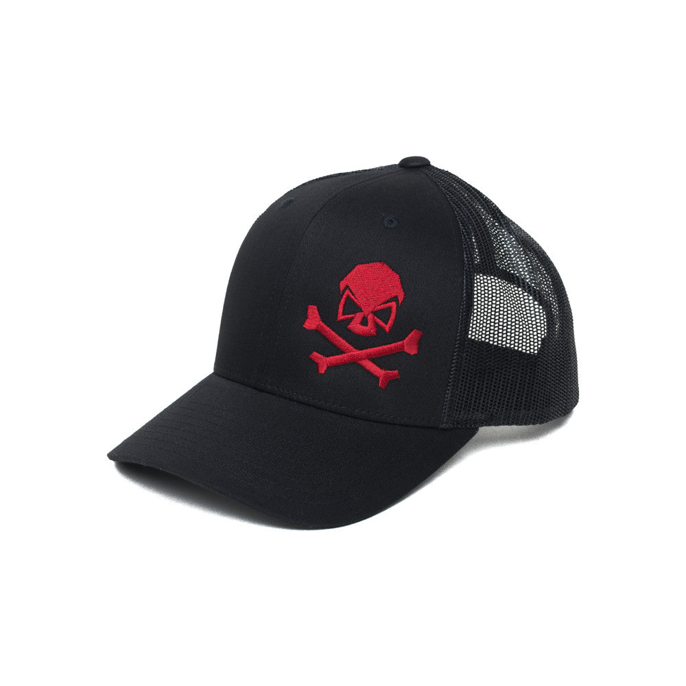 Skull & Bones Trucker - Black/Red - Hats - Pipe Hitters Union