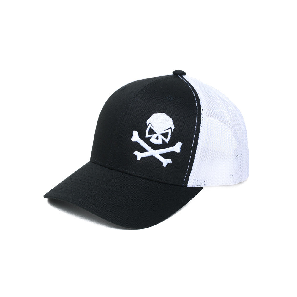Skull & Bones Trucker - Black/White - Hats - Pipe Hitters Union