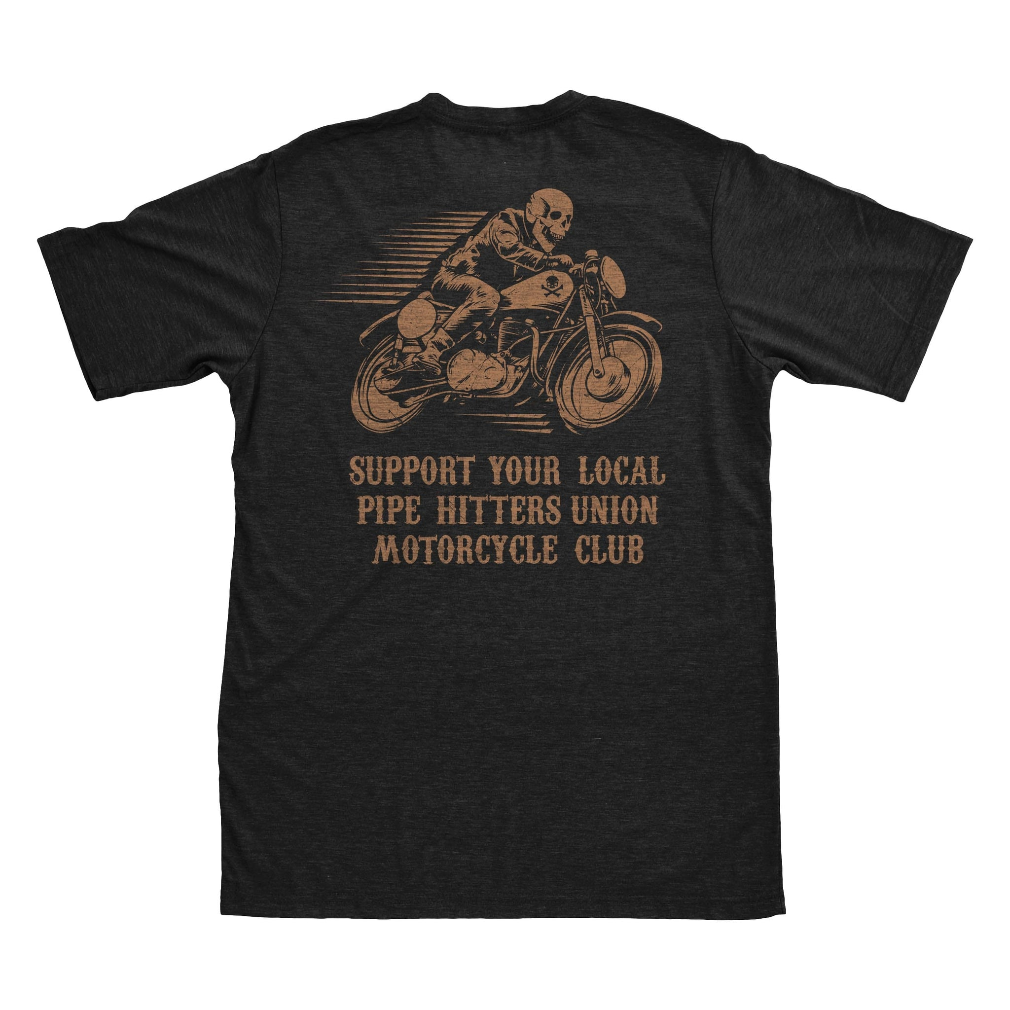 PHUMC Support Tee - Skeleton Biker - Black - T-Shirts - Pipe Hitters Union