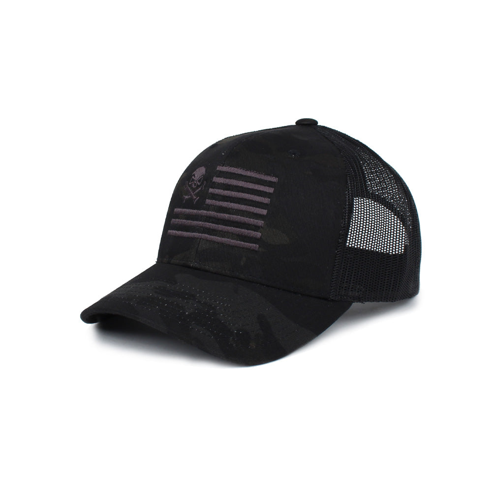 Skull American Flag Trucker - BlackMultiCam/Black - Hats - Pipe Hitters Union