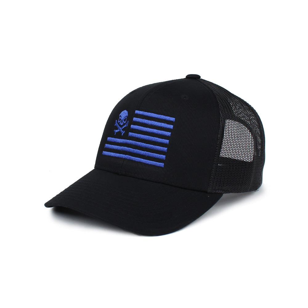 Skull American Flag Trucker - Black/Blue - Hats - Pipe Hitters Union