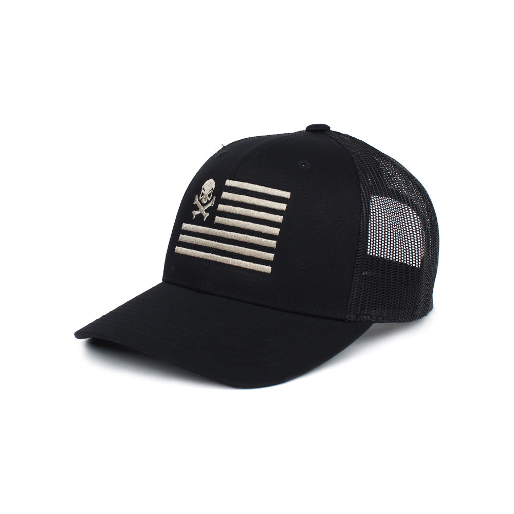 Skull American Flag Trucker - Black/Pewter - Hats - Pipe Hitters Union