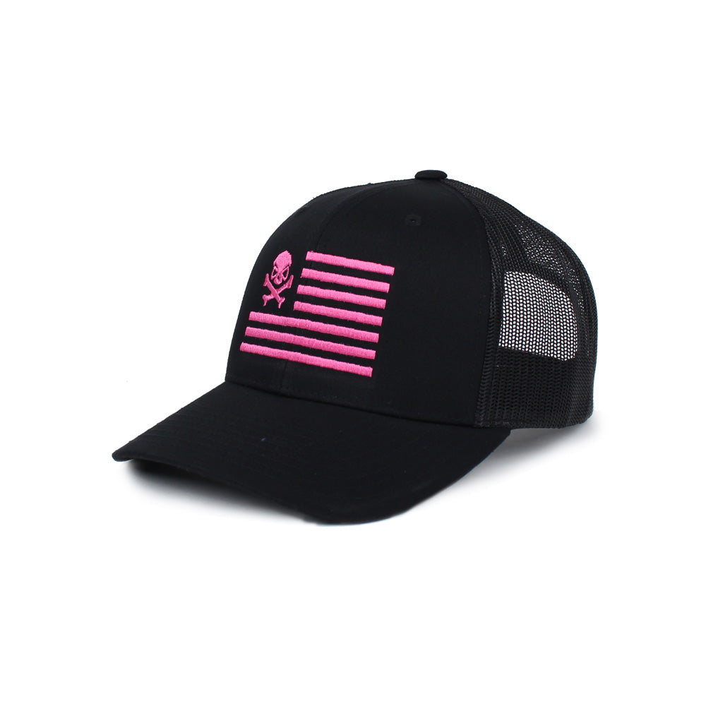 Skull American Flag Trucker - Black/Pink - Hats - Pipe Hitters Union