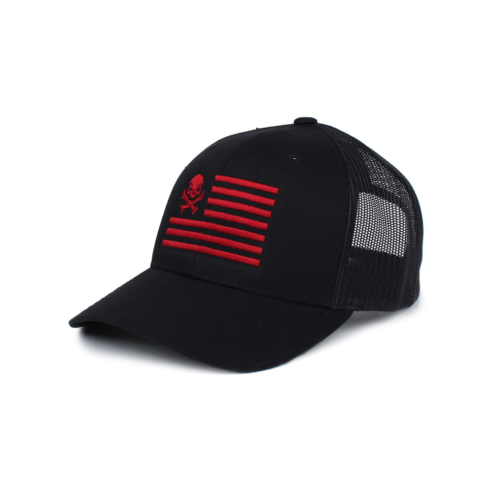 Skull American Flag Trucker - Black/Red - Hats - Pipe Hitters Union