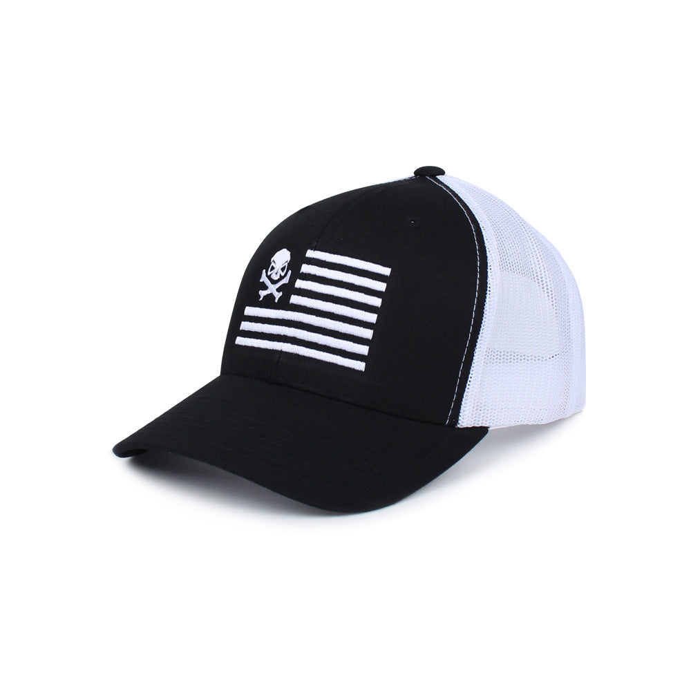 Skull American Flag Trucker - Black/White - Hats - Pipe Hitters Union