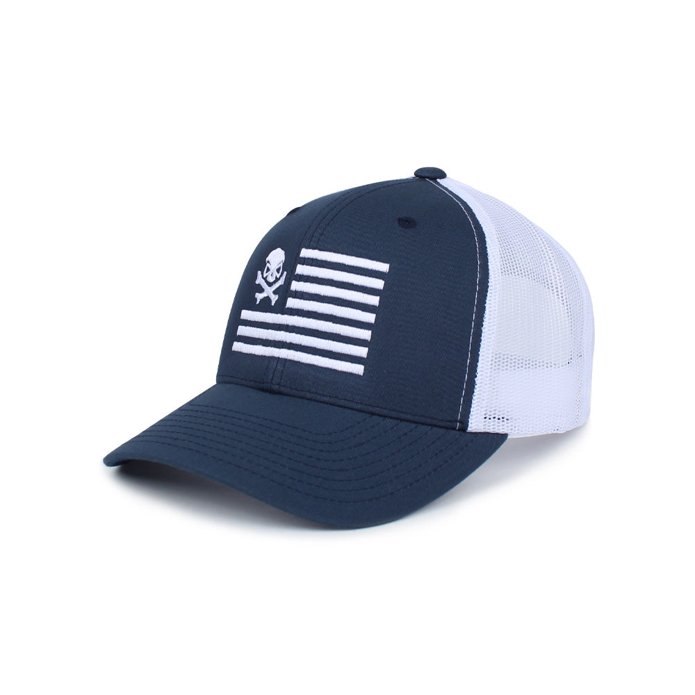 Skull American Flag Trucker - Blue/White - Hats - Pipe Hitters Union
