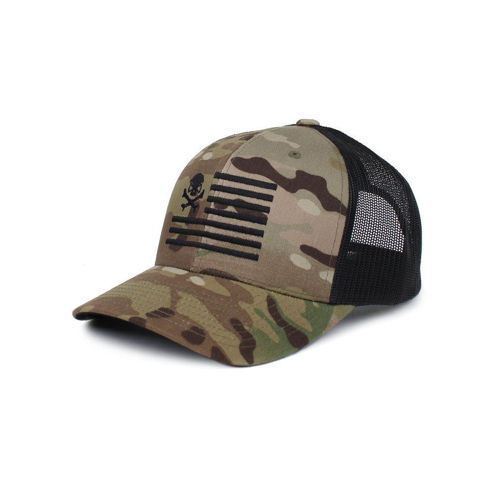 Skull American Flag Trucker - GreenMultiCam/Black - Hats - Pipe Hitters Union