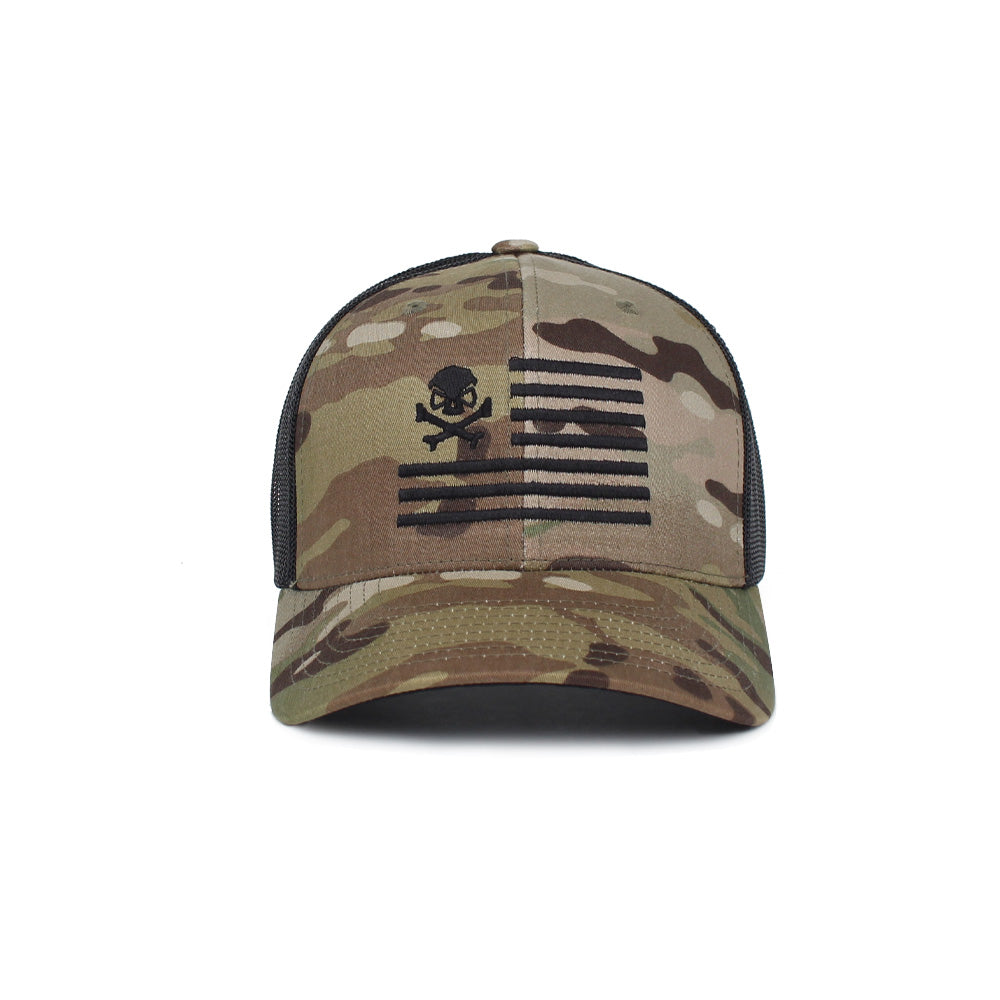 Skull American Flag Trucker -  - Hats - Pipe Hitters Union