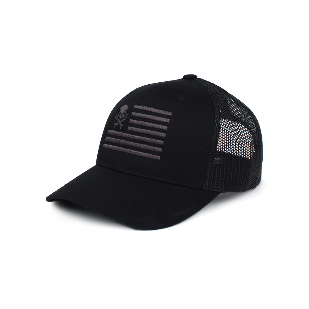 Skull American Flag Trucker - Black/Gray - Hats - Pipe Hitters Union