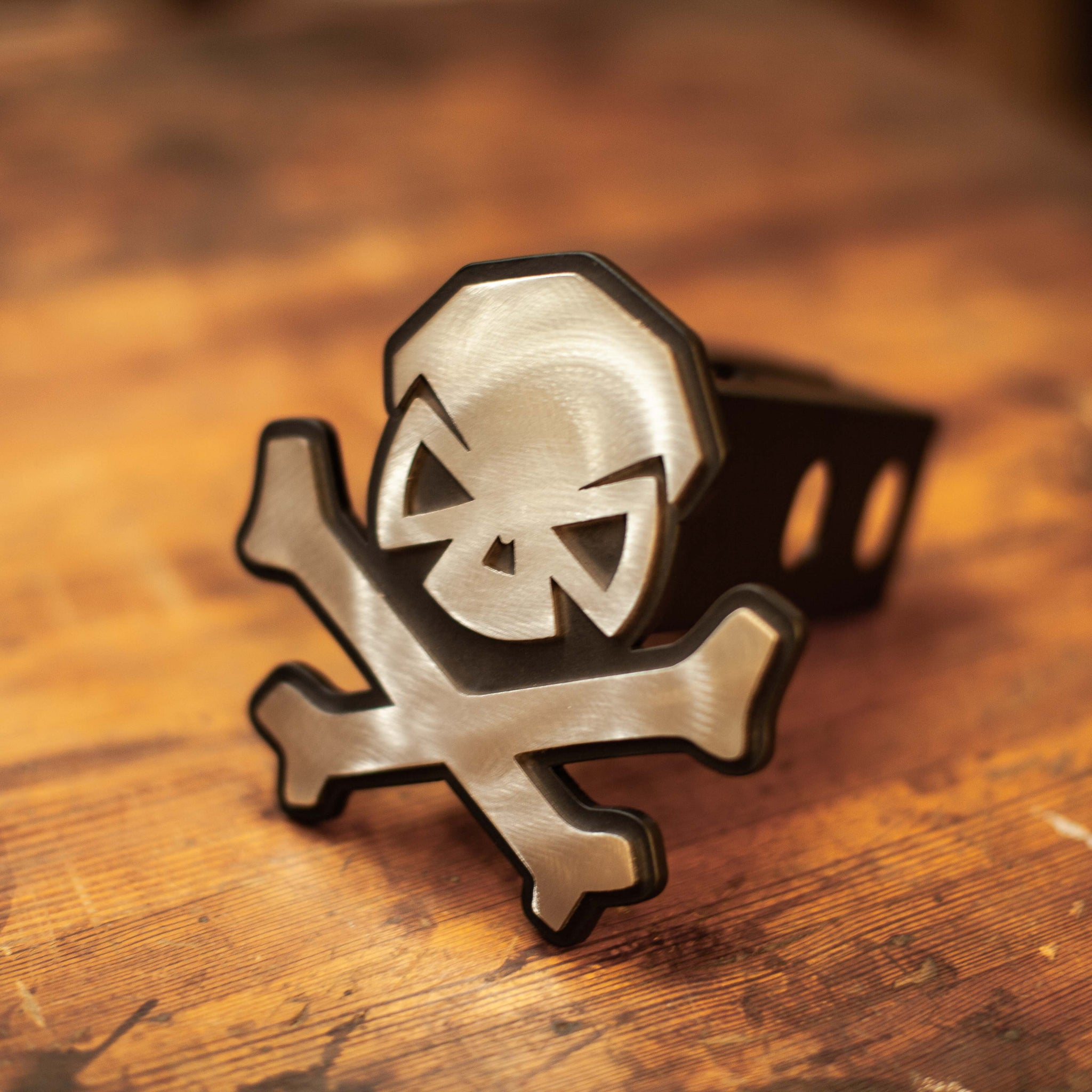 PHU Skull & Bones Trailer Hitch Cover - Stainless - Challenge Coin - Pipe Hitters Union