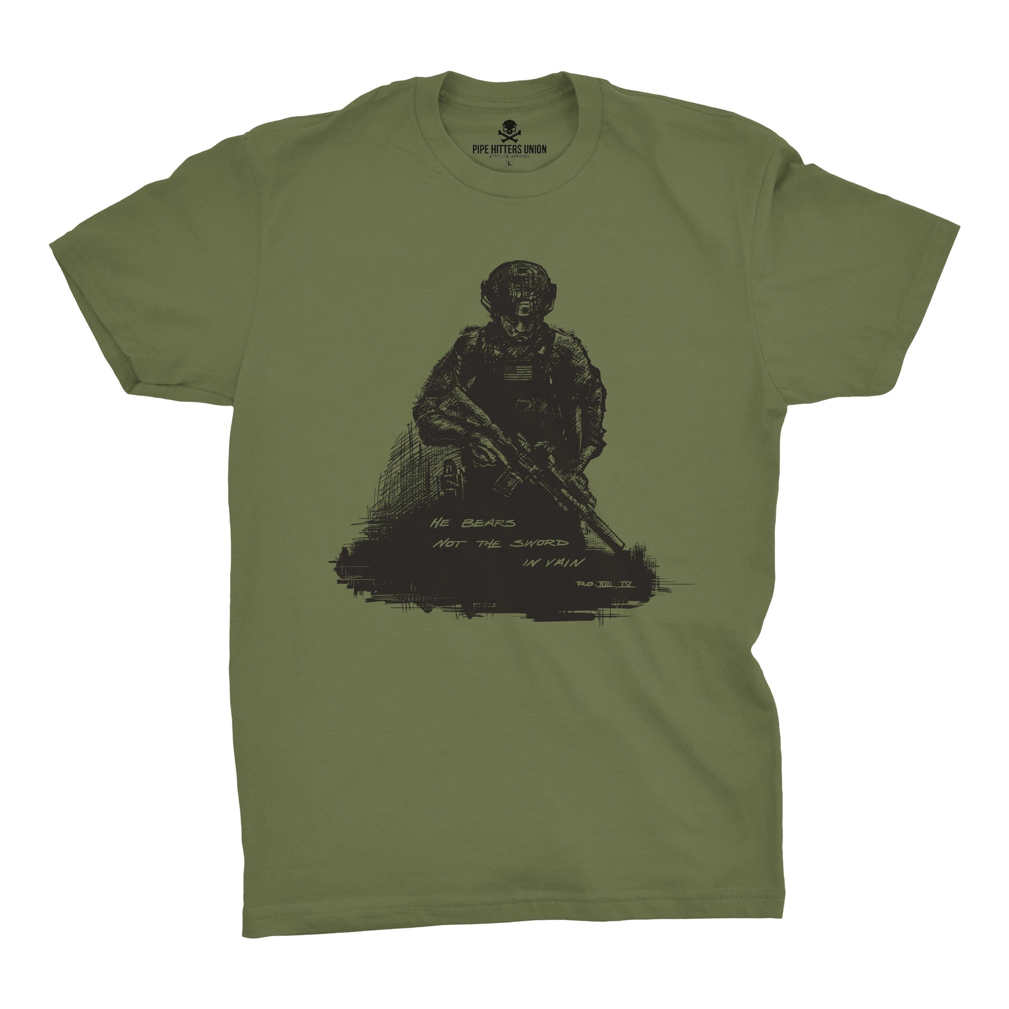 Romans 13:4 - Military Green - T-Shirts - Pipe Hitters Union
