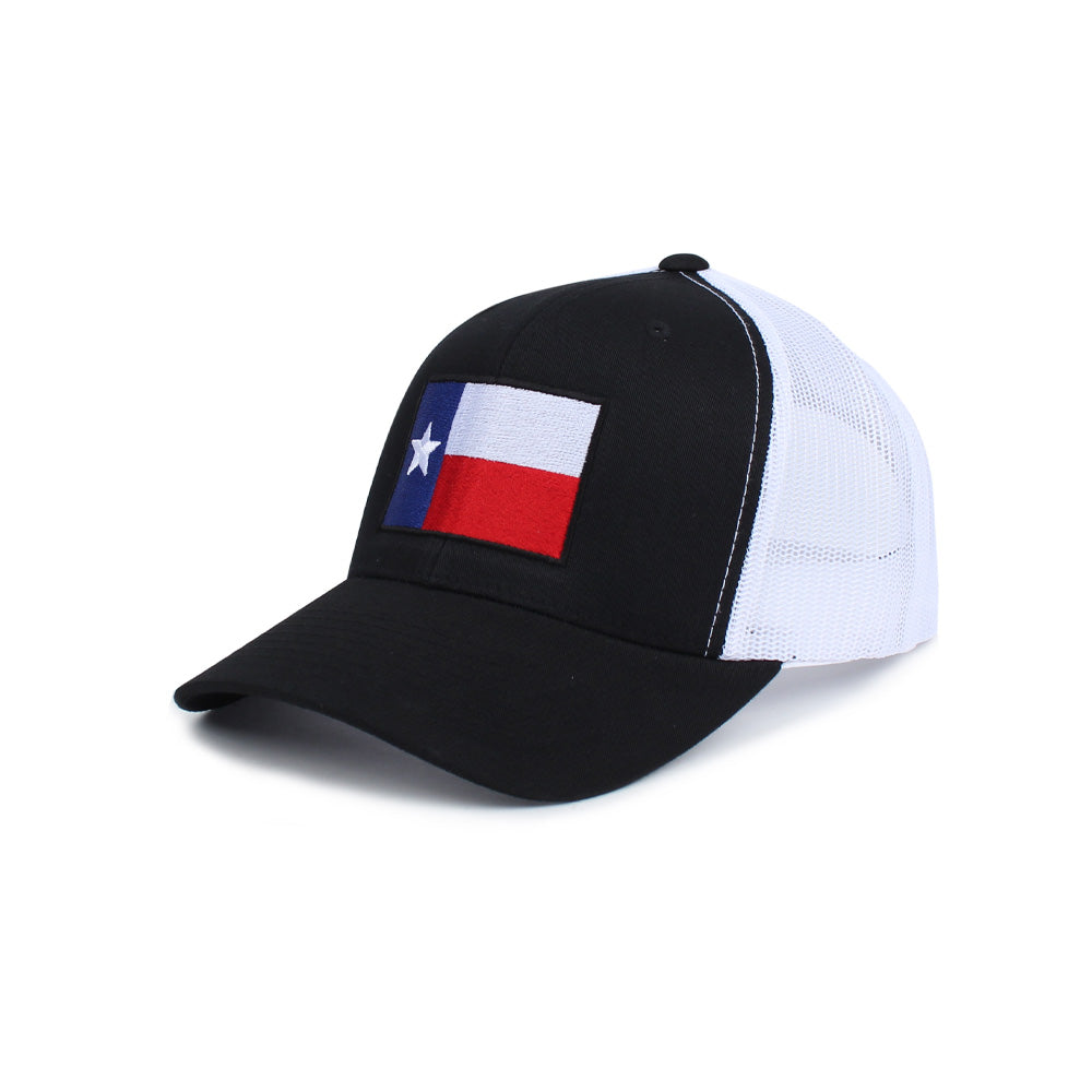 Texas Flag Trucker - Black/White - Hats - Pipe Hitters Union