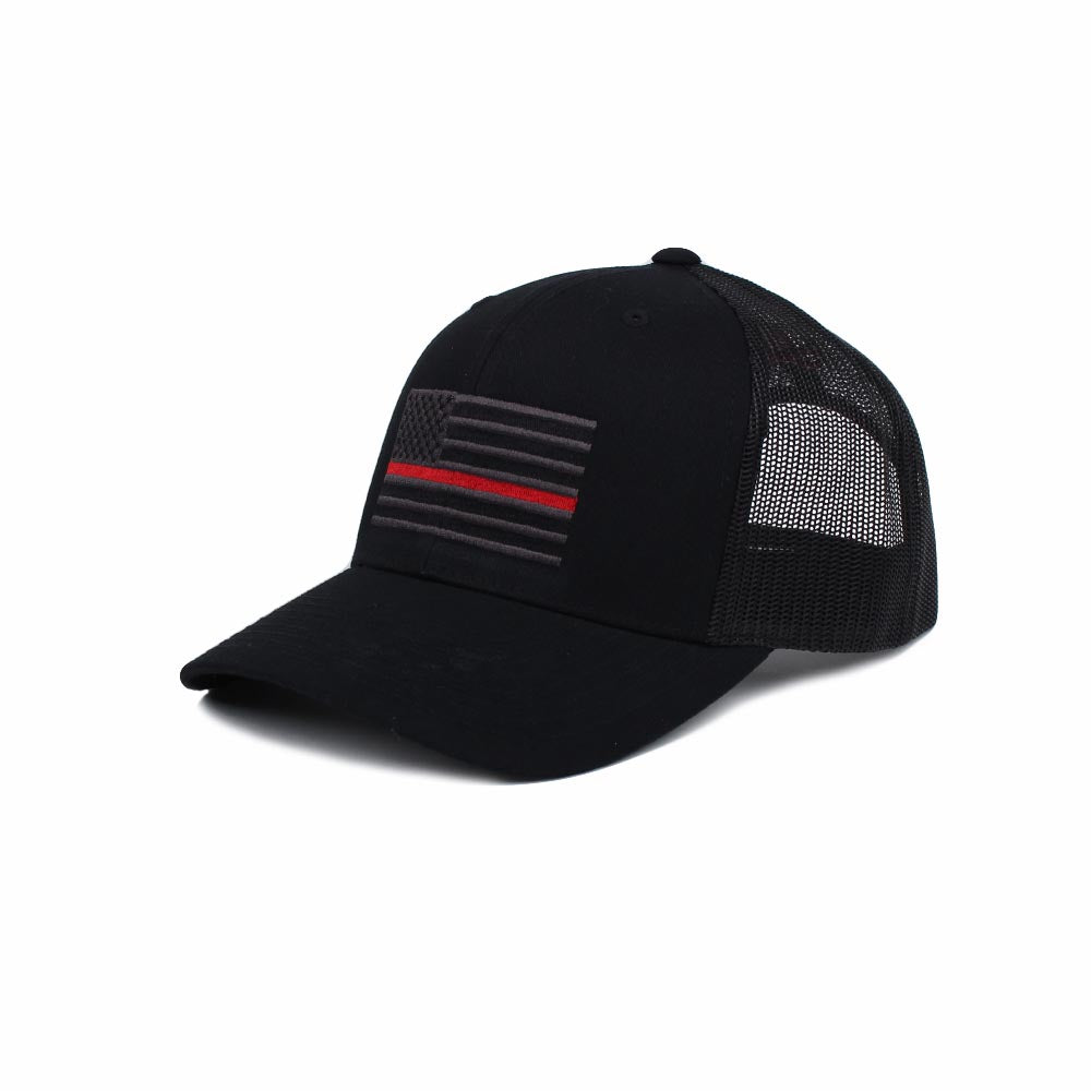 Thin Red Line American Flag Trucker - Black/Red - Hats - Pipe Hitters Union
