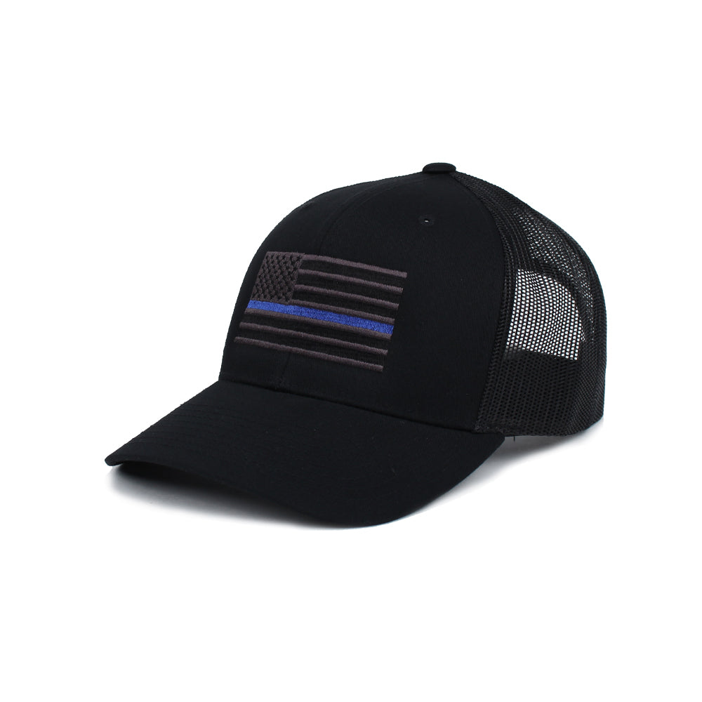 Thin Blue Line American Flag Trucker - Black/Blue - Hats - Pipe Hitters Union