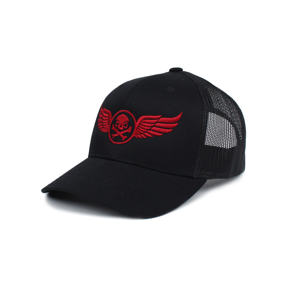PHU Wings Trucker - Black/Red - Hats - Pipe Hitters Union