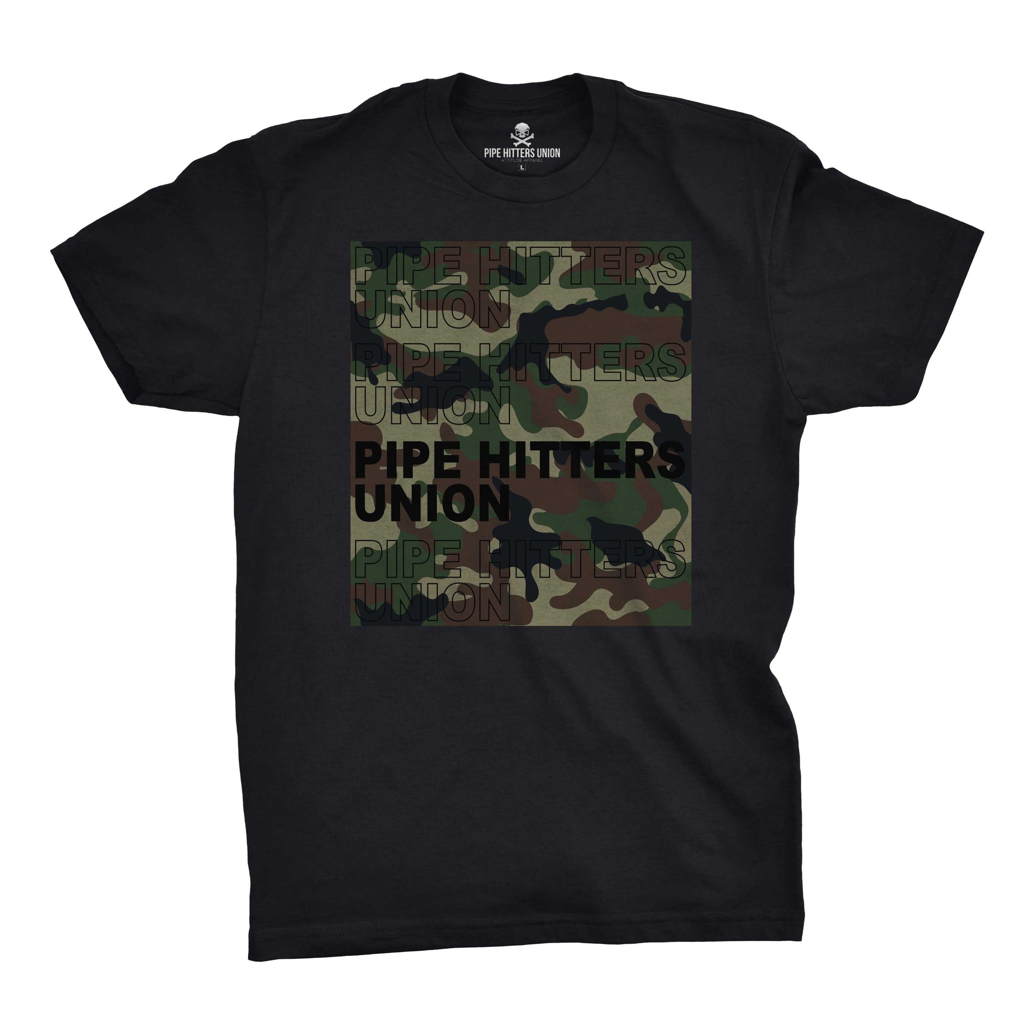 Pipe Hitter Pattern Analysis - Black/Woodland Camo - T-Shirts - Pipe Hitters Union