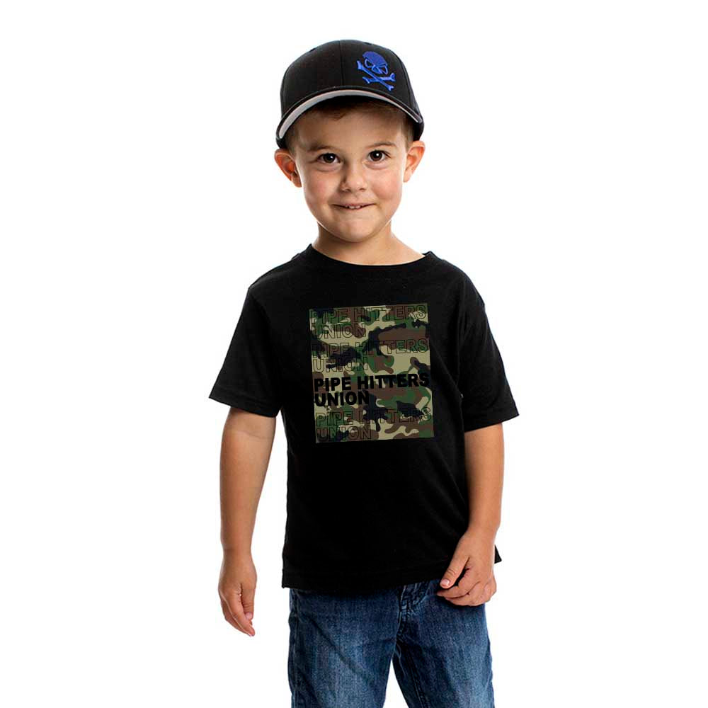 Pipe Hitter Pattern Analysis - Youth - Black/Woodland Camo - T-Shirts - Pipe Hitters Union
