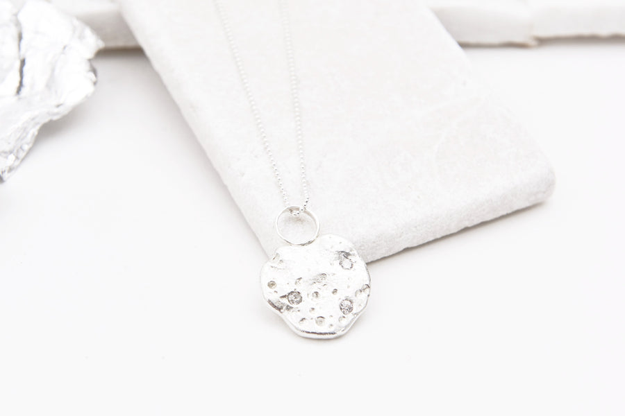 Moon Necklace with Cubic Zirconia sparkles option