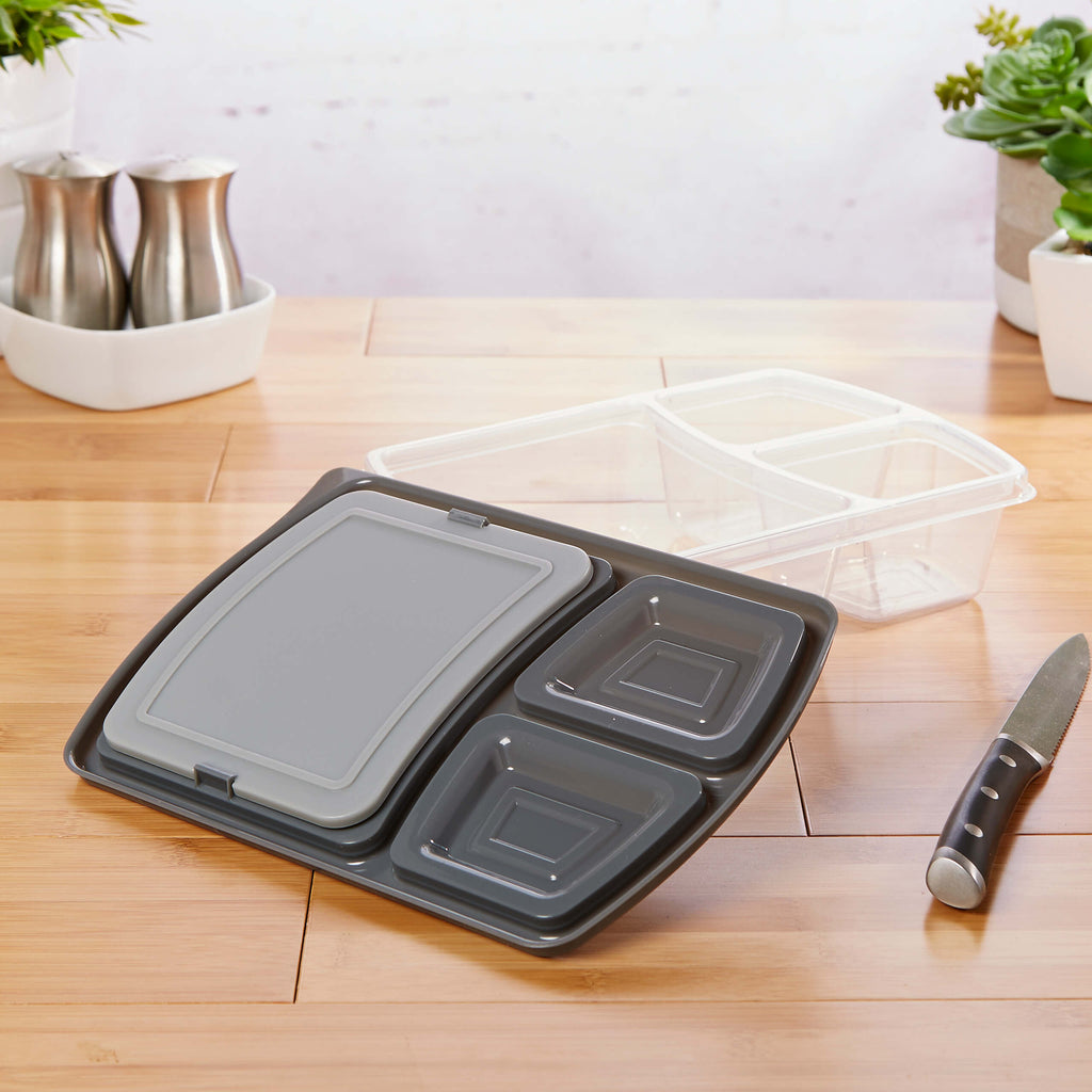 Jaxx Meal Prep Divided Container Set with Snap-In Cutting Board (Set of 5)