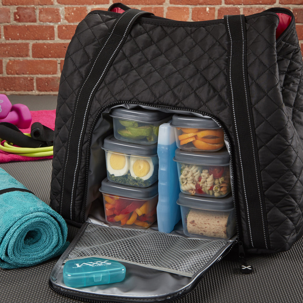 Jaxx Quilted FitPak Meal Prep & Yoga Bag with Portion Control Container Set