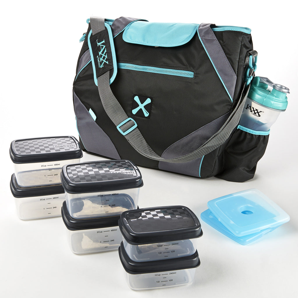 Jaxx Ares FitPak Meal Prep Tote Bag with Portion Control Containers