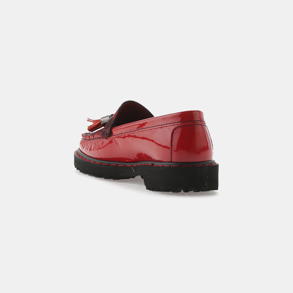 RED PATENT LEATHER/CALF HAIR