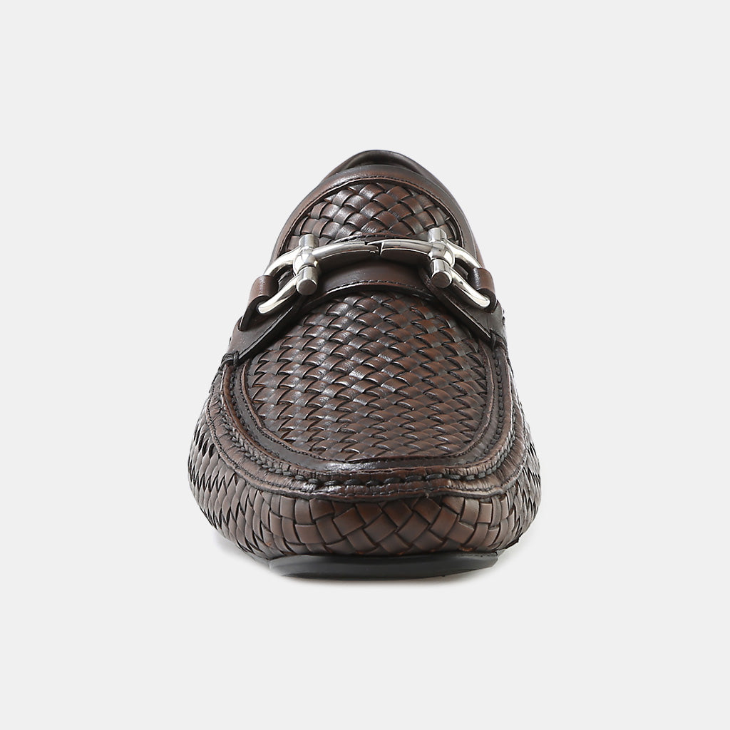 BROWN WOVEN LEATHER