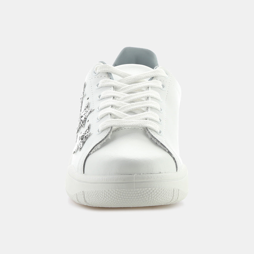 WHITE/SILVER LEATHER