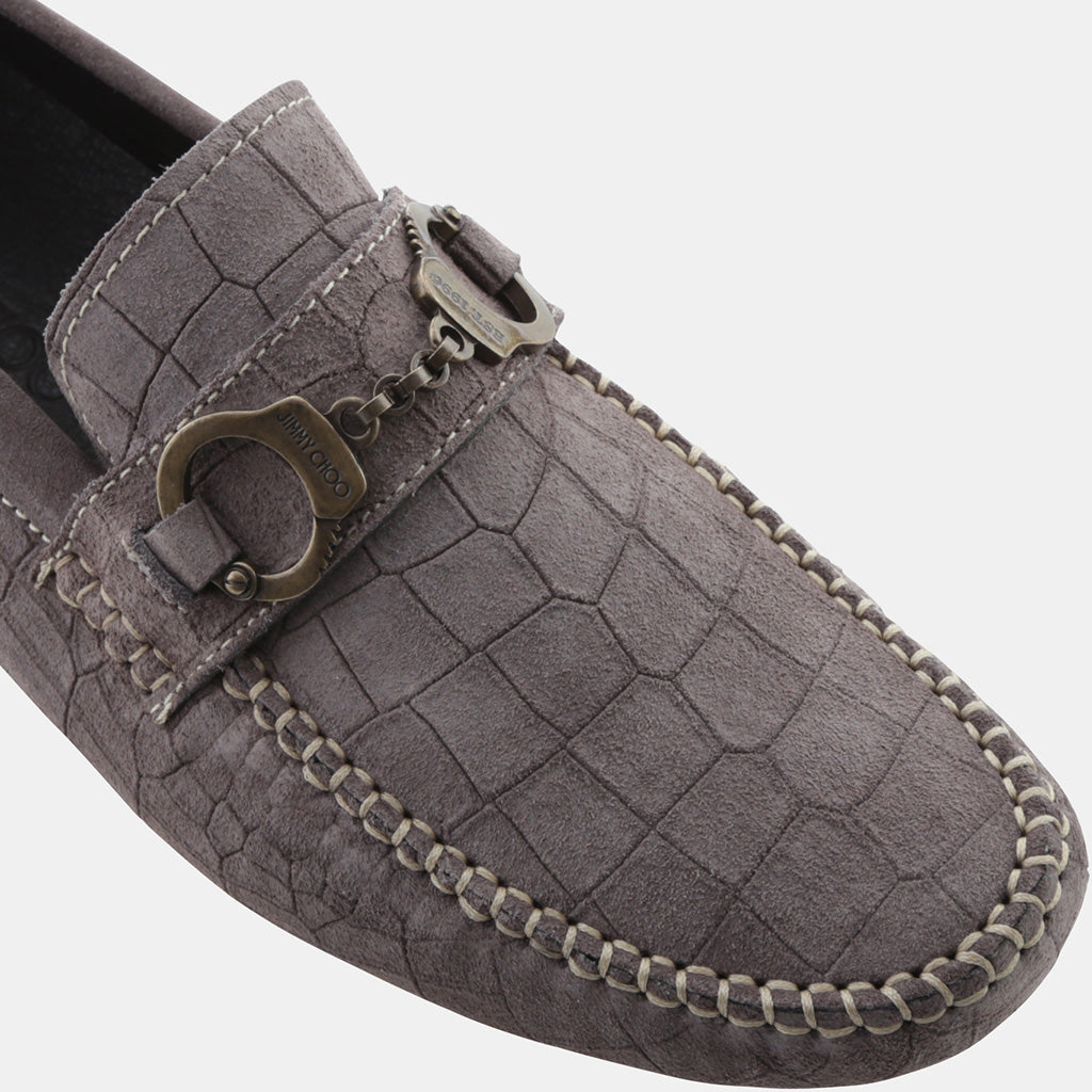 IRON GREY CROC PRINTED DRY SUEDE
