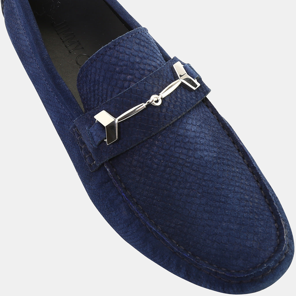 NAVY EMBOSSED LEATHER