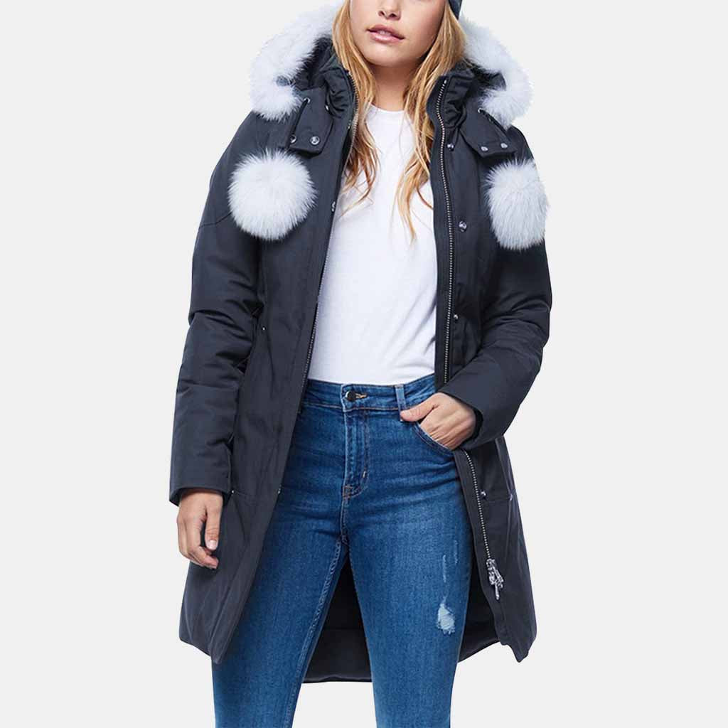 NAVY/NATURAL FUR