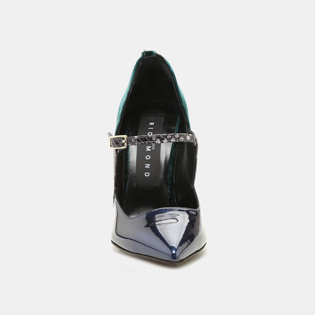 CUOIO/GOMMA TATOO NERO/PRUGNA PATENT LEATHER