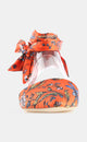 ORANGE BOTANICAL PRINT SATIN FABRIC