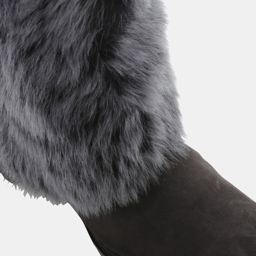 GRAY SHEEP FUR/ANTHRACITE SUEDE