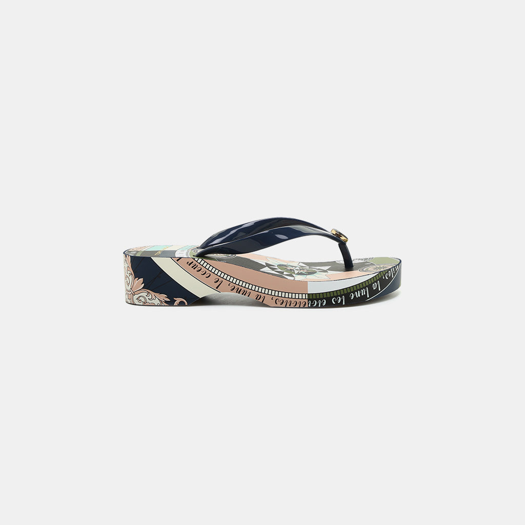 509fbf88d7dde3 Tory Burch Printed Carved Wedge Flip-Flop Sandals