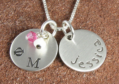 Phi Mu Personalized Greek Letter Sterling Silver Pendant
