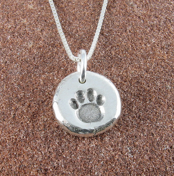 Paw Print Necklace,Organic Rustic Recycled Sterling Silver Paw Print Jewelry/FREE SHIPPING