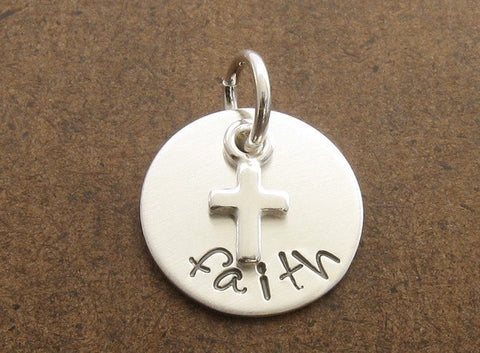 Faith Hand Stamped Sterling Silver Charm with Cross