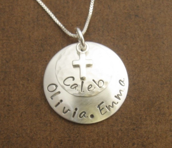 Cross Personalized Pendant- Sterling Silver