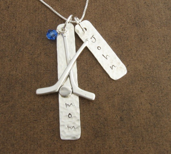 Hockey Mom Necklace,Sterling Silver with Hockey Stick Charm and Hand Stamped Player's Name Tag(s)