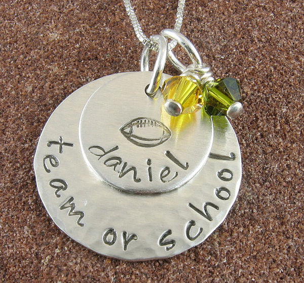 Football Pendant-Sterling Silver Hand Stamped with School or Team  and Players Name with School/Team Colors